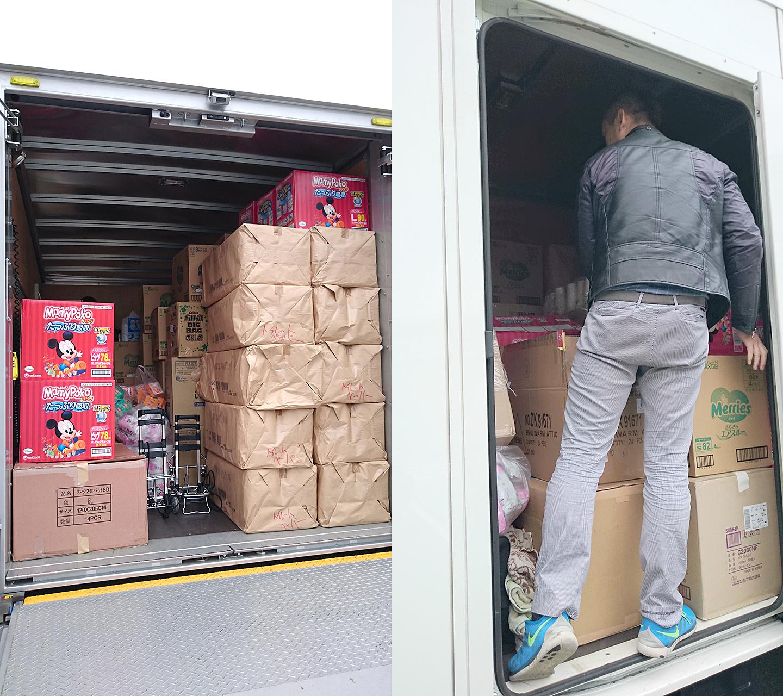 支援物資で満載になったトラック
