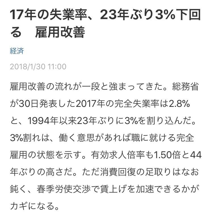 失業率3%未満